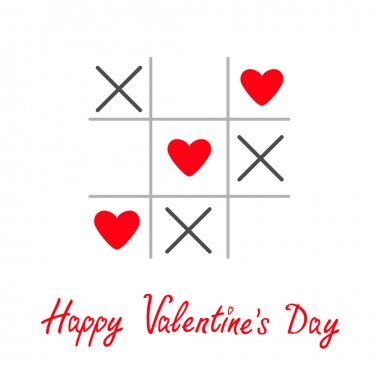 Tic tac toe game with cross and three heart sign