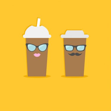 Paper cups with sunglasses, mustache and lips