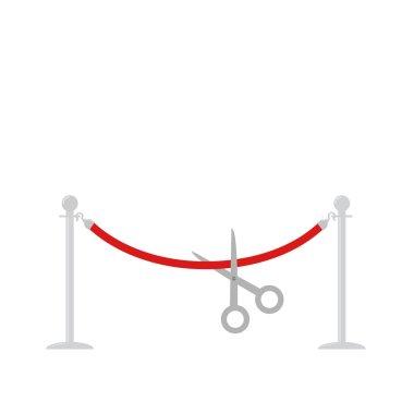 Scissors cut red rope