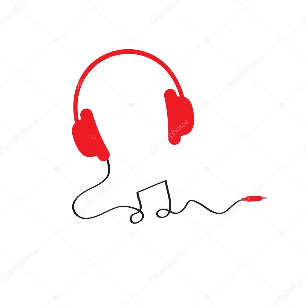 Red headphones icon with black cord in shape of note. Music background. Flat design  Vector illustration. clipart vector