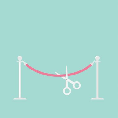 Scissors cutting pink rope on barrier