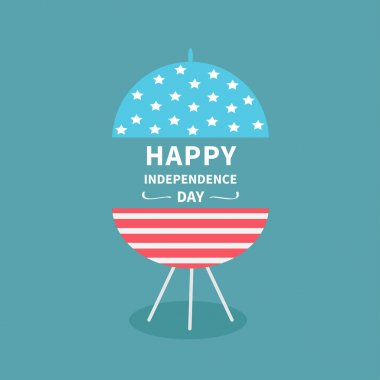 independence day card with BBQ grill