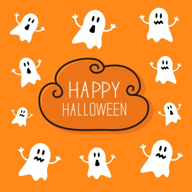 Happy Halloween card with  ghosts.