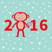 opice na sněhu pozadí. Nový rok