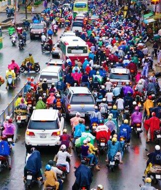 Traffic jam, Asia city,rush hour, rain day