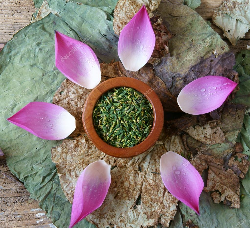 Collection Lotus Flower Seed Tea Healthy Food Stock Photo