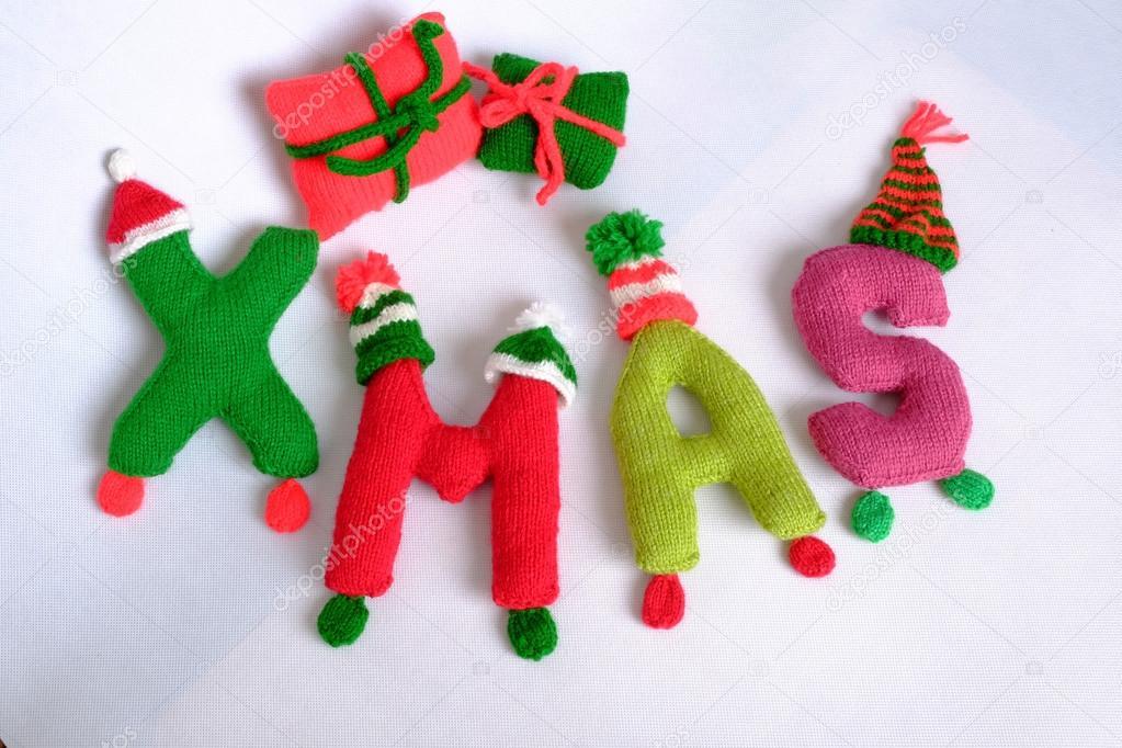 Alphabet Noel christmas, xmas alphabet, handmade, knitted, noel gift — stock photo