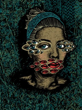 Woman with multiplied eyes and lips