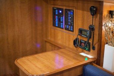 CB radio in a boat's control room