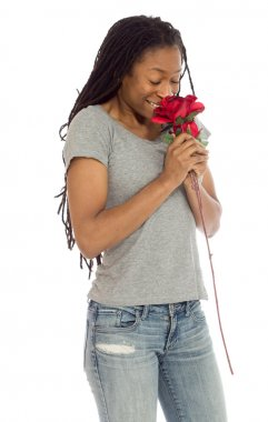 Model smells red rose