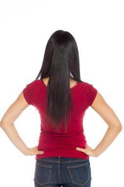 Model showing her back