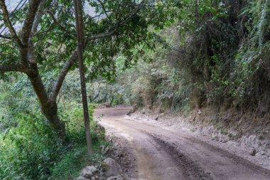Dirt road passing through mountain