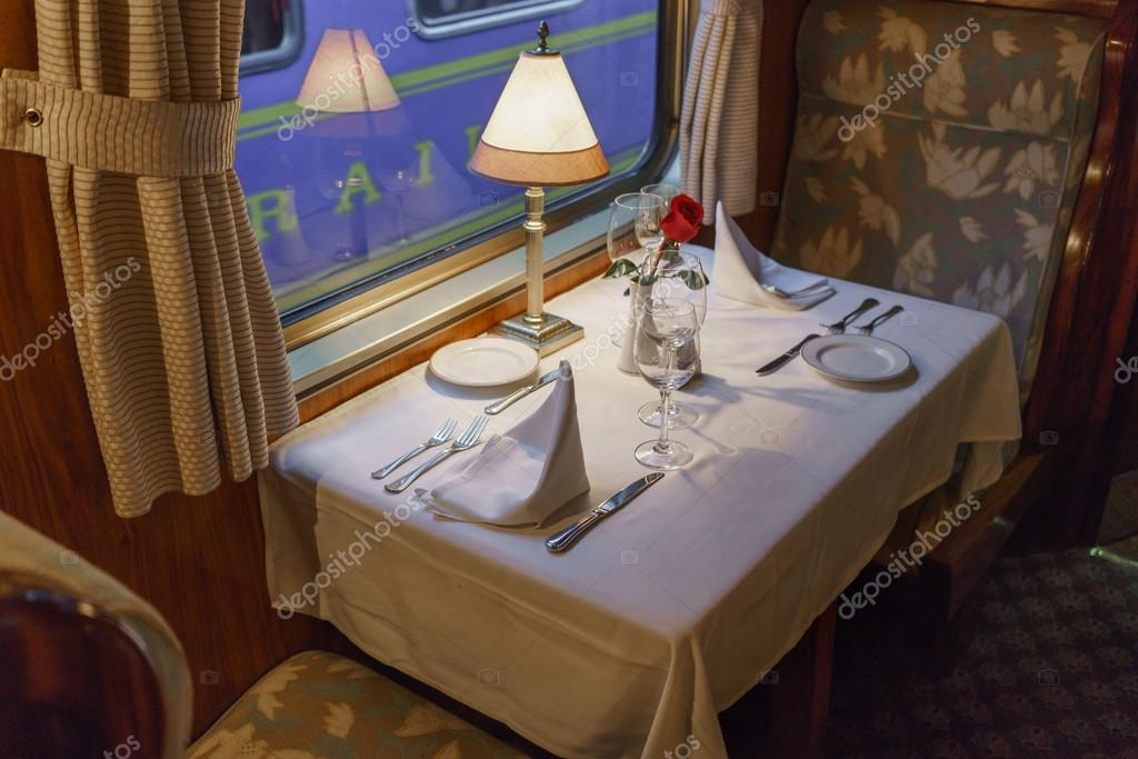 Dining Table In First Class Train Car U2014 Stock Photo