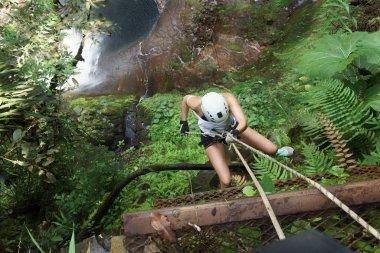 Female climber climbing on rock