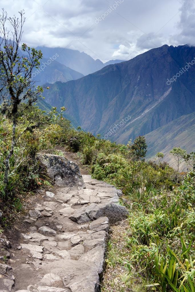 Inca trail passing through the ruins of Machu Picchu