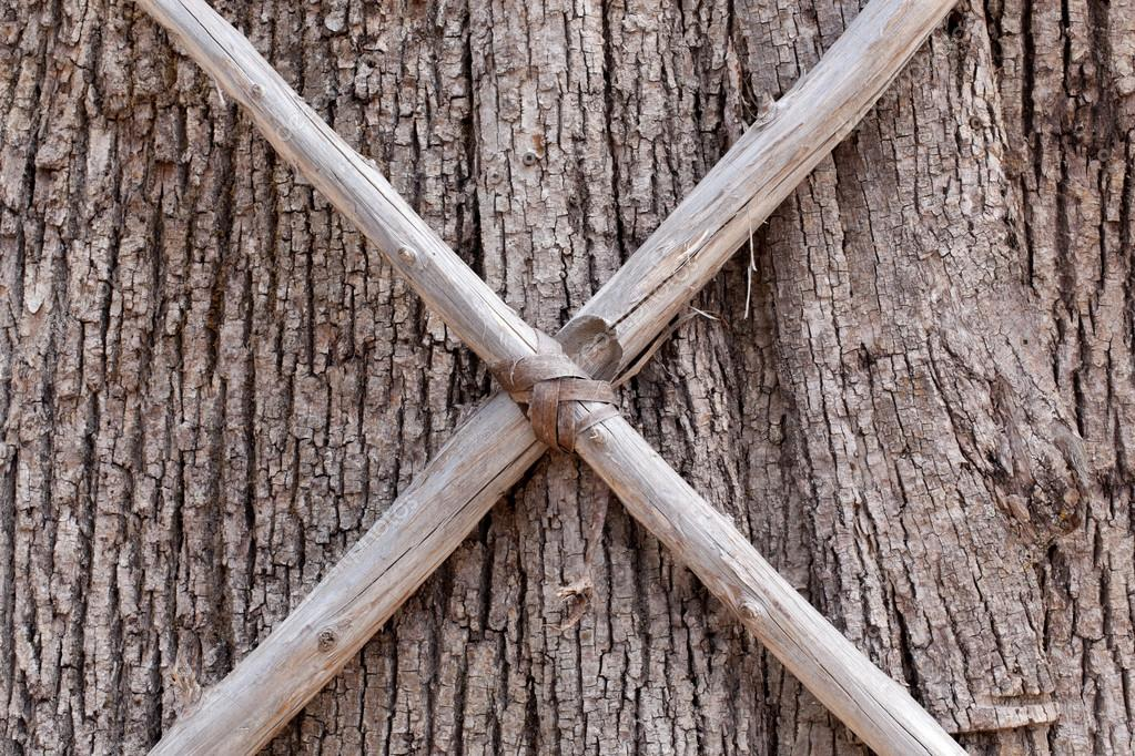 a426d56dd5b3 Tree trunk with crossed sticks — Stock Photo © Bruno135  96090192