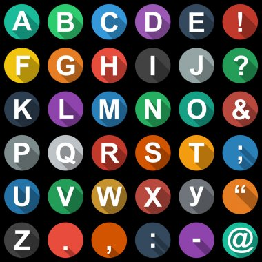 Alphabet, text Symbols Flat Icons Set with long shadow