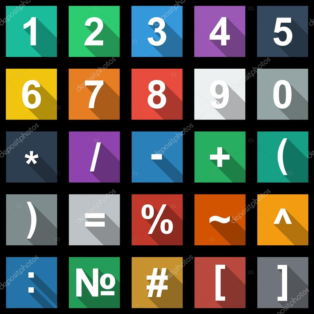 Numbers And Math Symbols Flat Icons Set With Long Shadow Stock