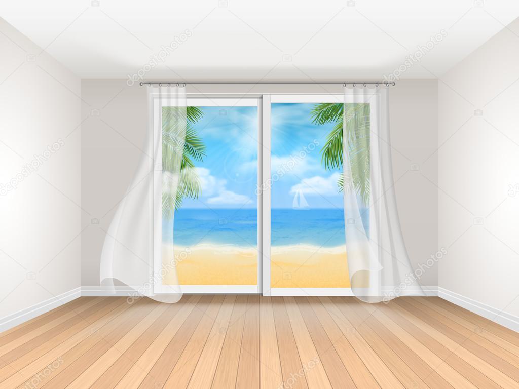 vide chambre vue mer avec grande fenêtre coulissante — Image ...