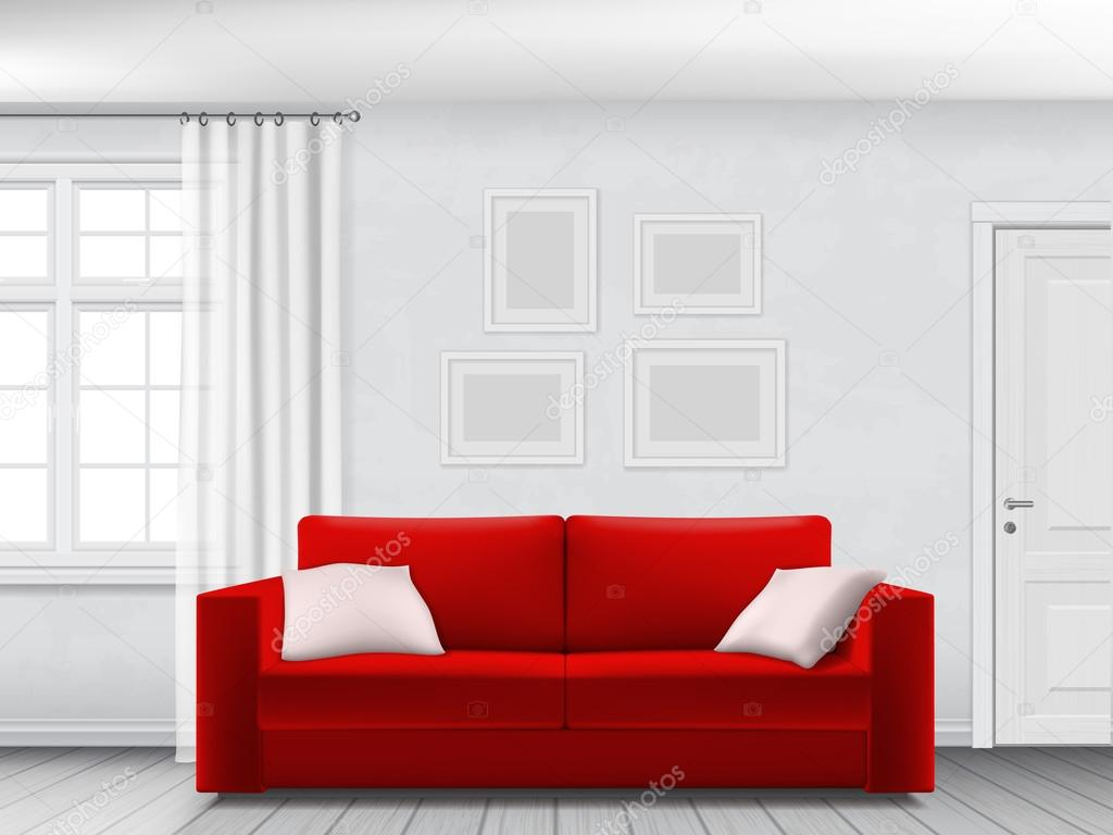 White interior and red sofa — Stock Vector © belikovand #123198926