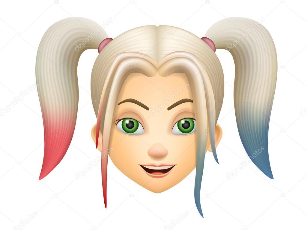 Animato cartone capelli rosa fronte della ragazza con capelli