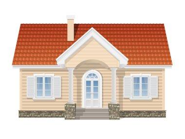 suburban house, realistic vector illustration