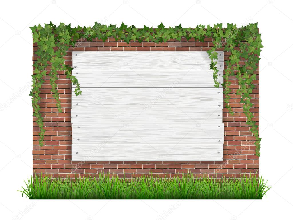 Wooden sign on a old brick wall background with green grass and