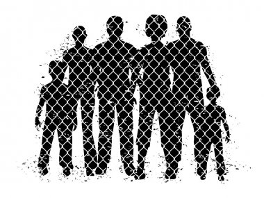 people behind wire fence