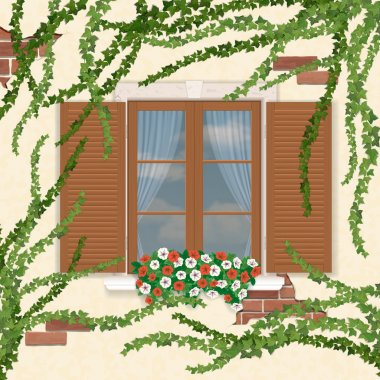 Wooden window with shutters, overgrown ivy.