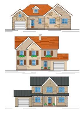 three suburban houses