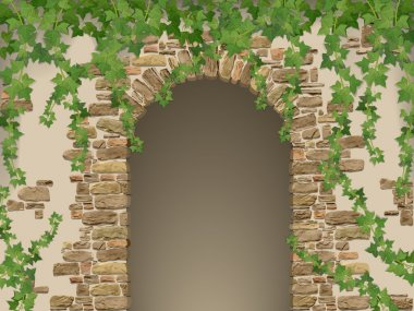 Arch of stones and hanging ivy