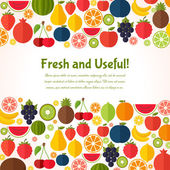 Fruits background. Colorful template for cooking, restaurant menu and vegetarian food