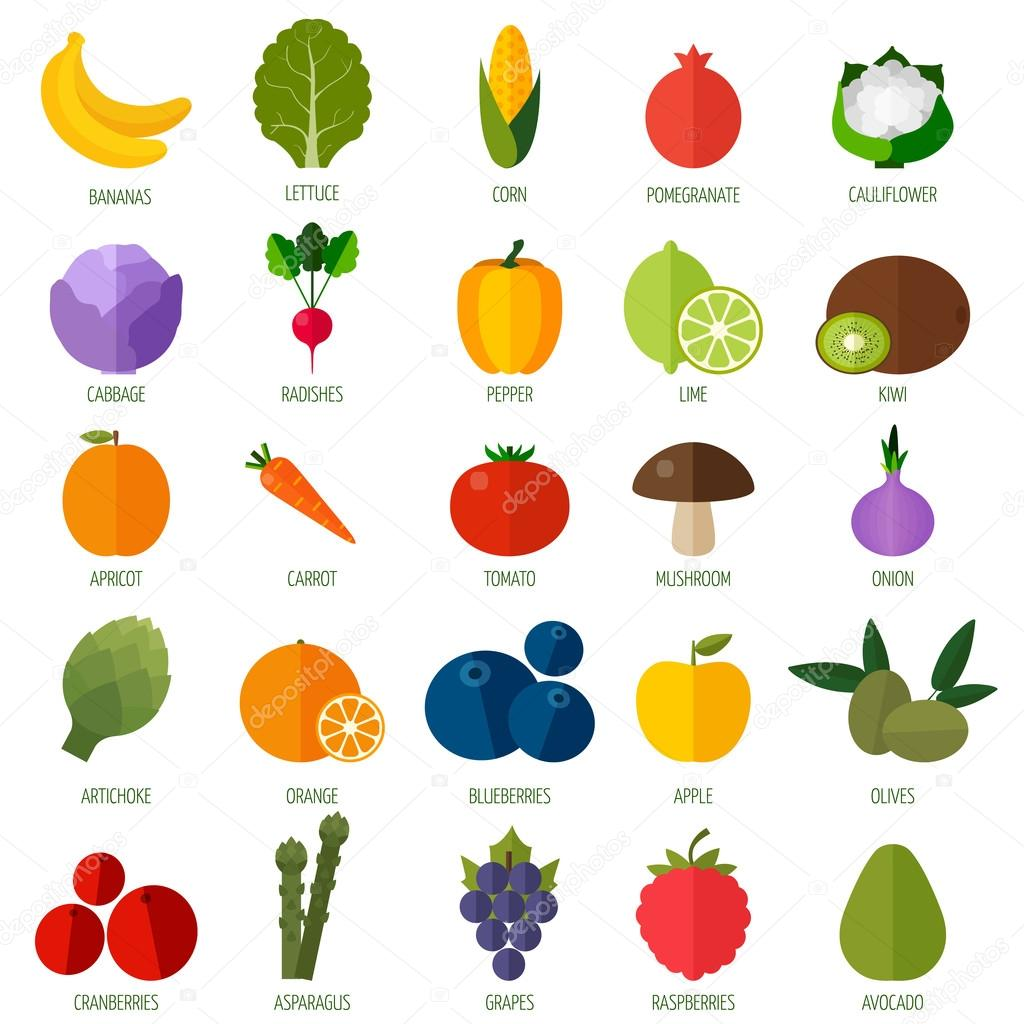 Colorful flat fruits and vegetables icons set.