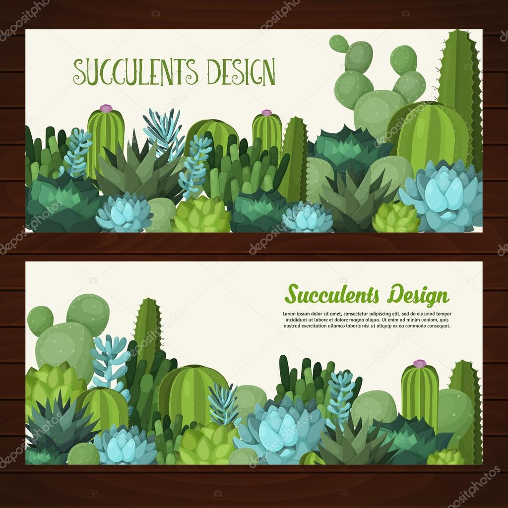 Cute succulent vector banners.