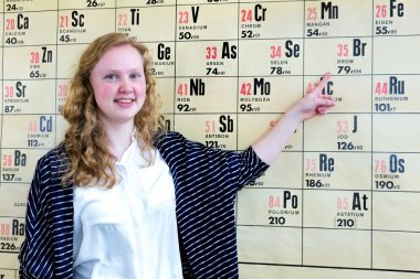 Dutch teenage girl pointing finger at periodic table
