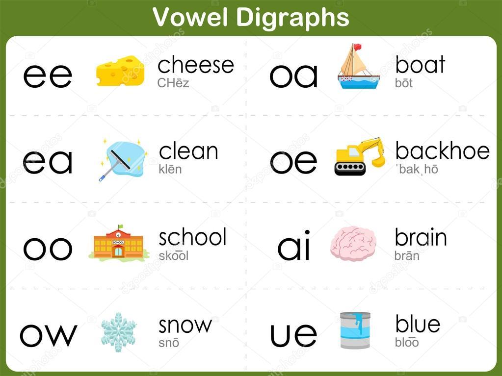 Vokal Digraphen Arbeitsblatt für Kinder — Stockvektor © aekikuis ...