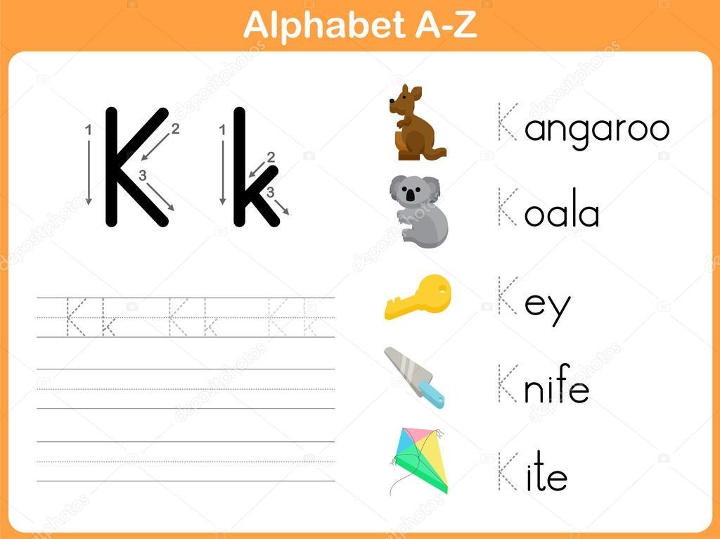 Alphabet-Ablaufverfolgung Arbeitsblatt: Writing A-Z — Stockvektor ...
