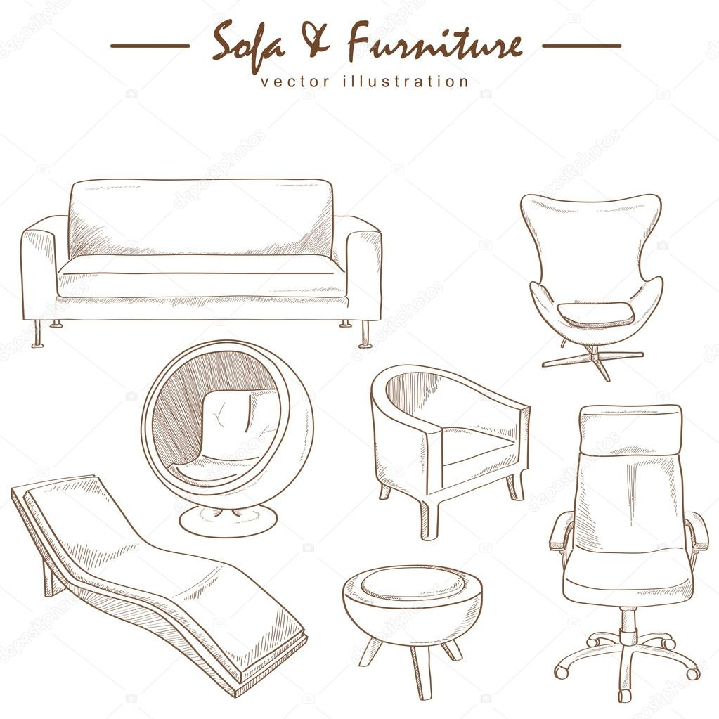 Furniture collection sketch drawing vector stock vector for Planos de muebles de cocina pdf