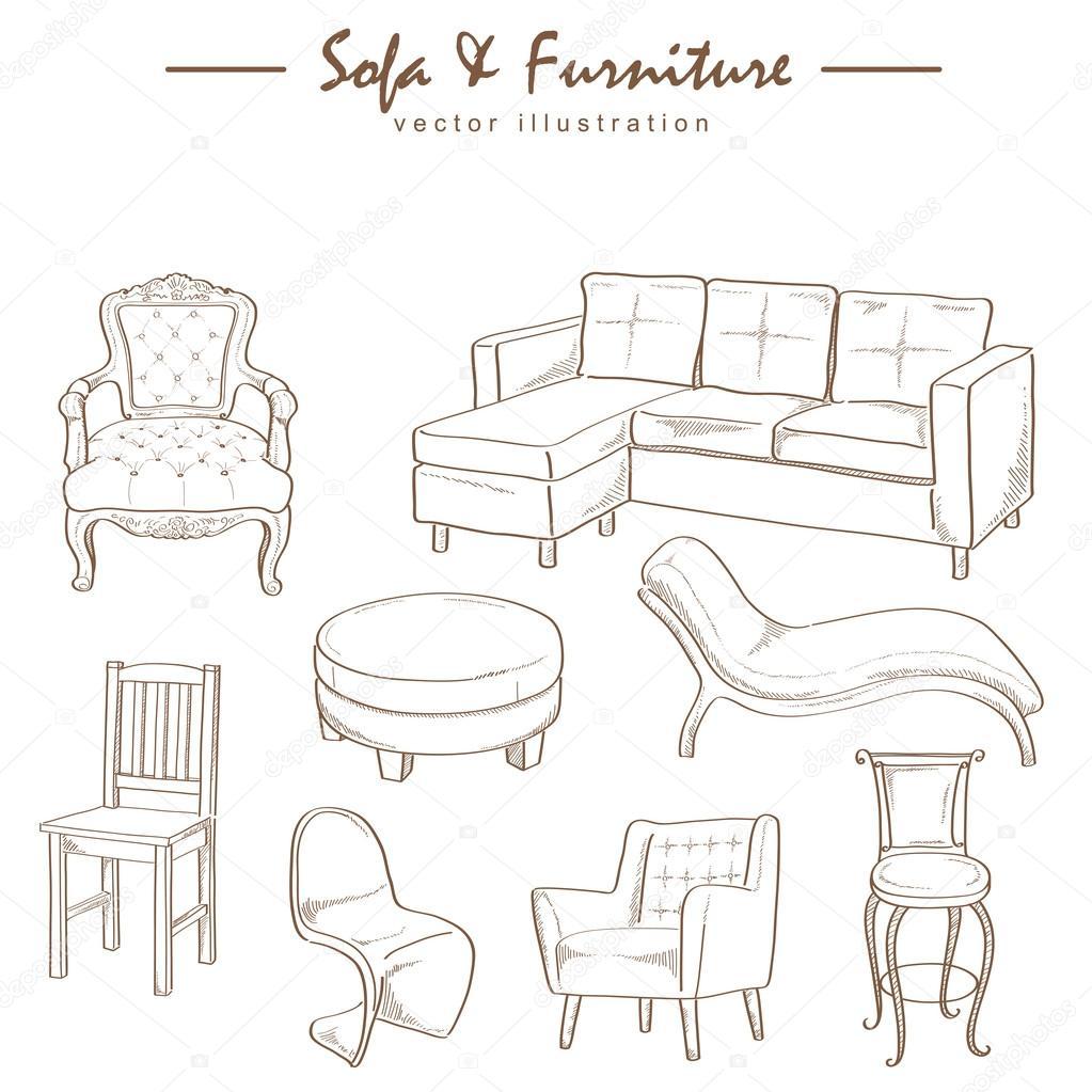 Croquis Dibujo Vectorial De Muebles Colecci N Vector De Stock  # Muebles Dibujos Para Colorear