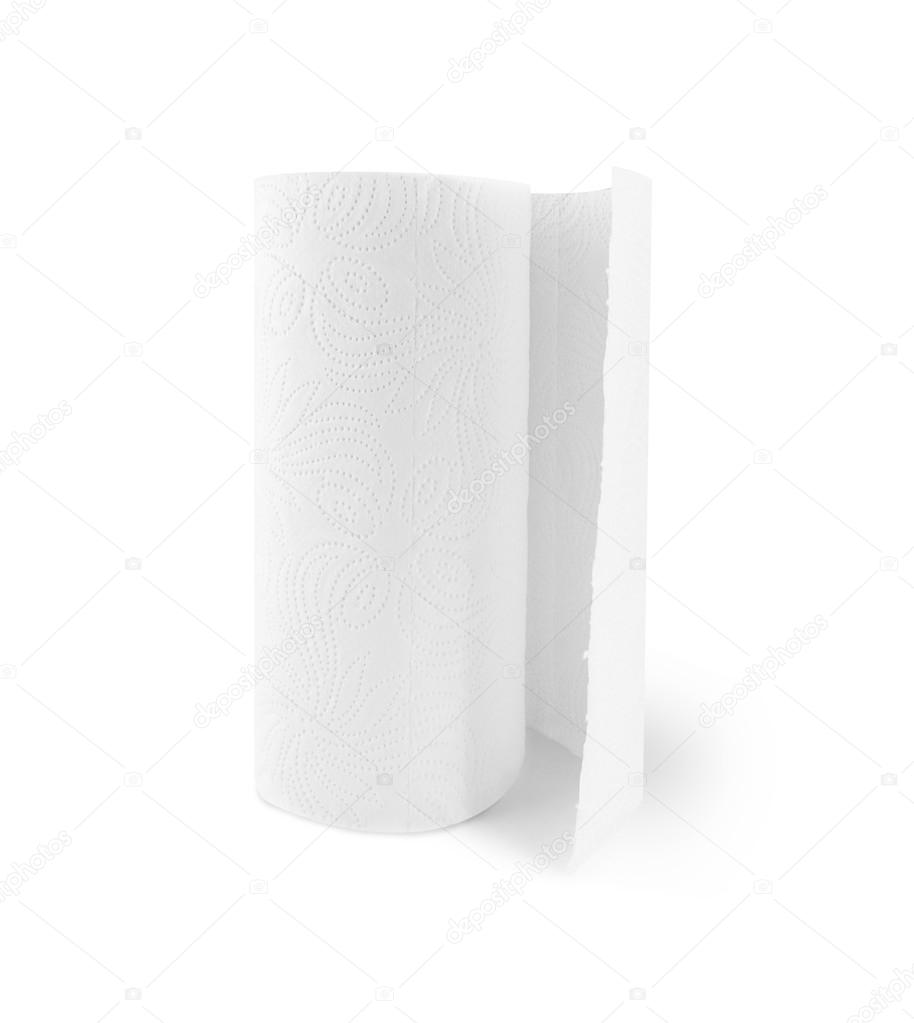 Kitchen paper towel roll isolated on a white background. — Stock ...