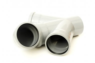 New gray drain pipe, isolated on a white background