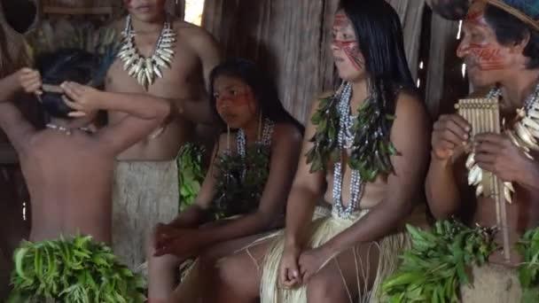 Brazília, Amerikai őslakos Dessana törzs család eredeti jelmezben. Amazónia