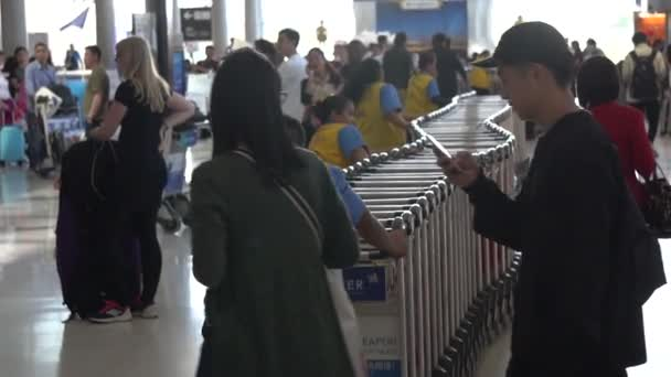 Bangkok Suvarnabhumi Airport, Thailand. Workers Moving Luggage Trolleys