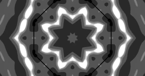 Vzory černo-bílých kaleidoskopů. Abstraktní pohybová grafika. Fraktální animace. Krásná ozdoba. Nekonečný cyklus