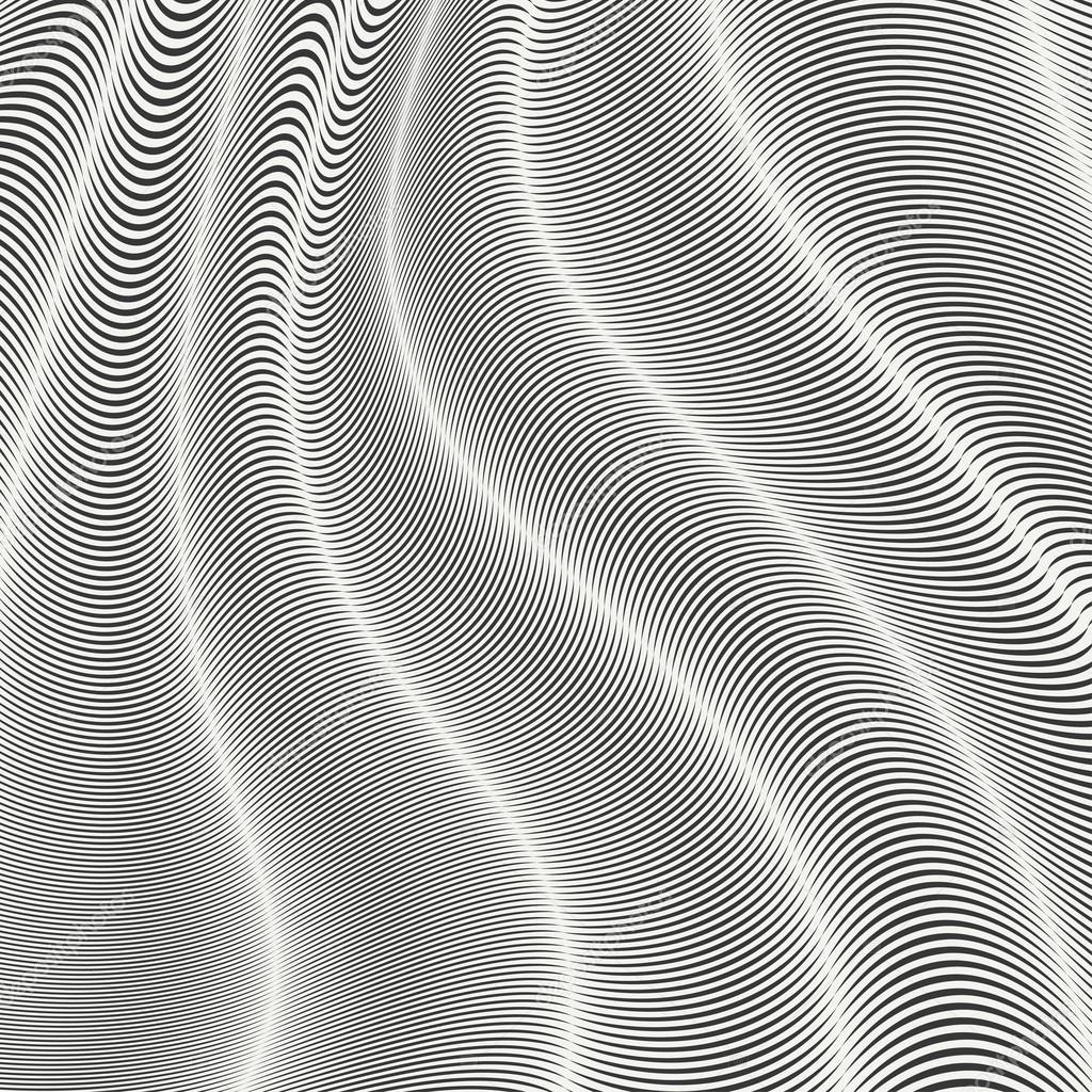 Mobious bande de vague motif sans soudure abstraite de lignes g om triques - Coussin graphique noir et blanc ...