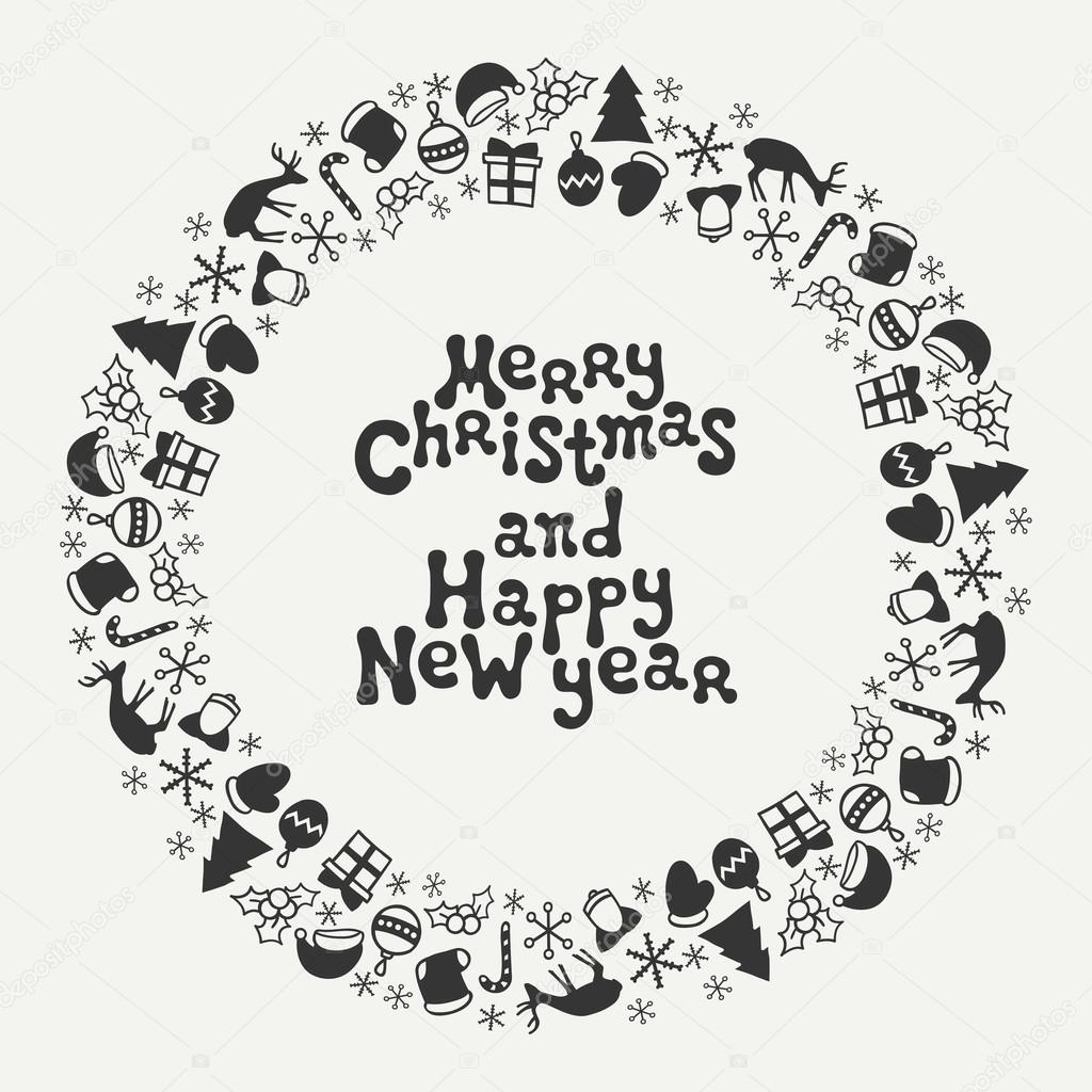 Merry Christmas And Happy New Year Lettering Greeting Card 2017