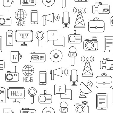 Seamless pattern of of flat colorful vector journalism icons. Mass media. Communication. Illustration consists of computer, news, reporter, camera, microphone, radio. Infographics design web elements.