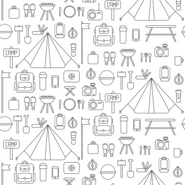 Seamless pattern of flat colorful vector camping equipment symbols and icons.