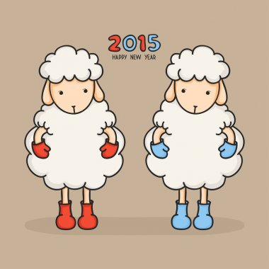 Colorful, cute sheep in boots. Happy new year 2015. Greeting card. Chinese symbol. Vector illustration.