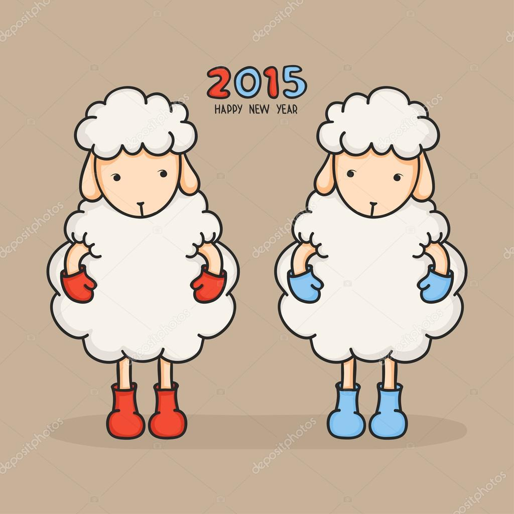 colorful cute sheep in boots happy new year 2015 greeting card chinese